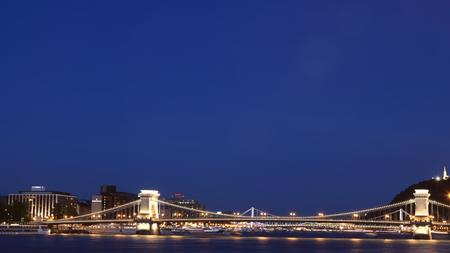Chain Bridge and Elizabeth Bridge across Danube River, with Gellert Hill visible