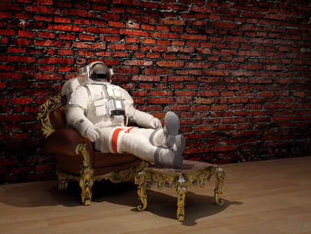 The astronaut   on the background of the old wall...3d render