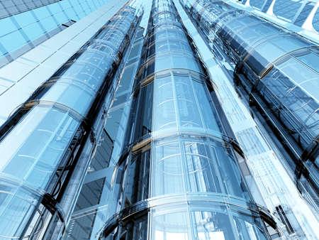 Foto de Lift against the backdrop of a modern building.,3d render. - Imagen libre de derechos