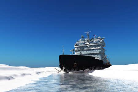 Photo pour Icebreaker ship on the ice in the sea., 3d render - image libre de droit