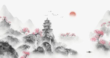Photo pour Chinese landscape artistic landscape painting - image libre de droit