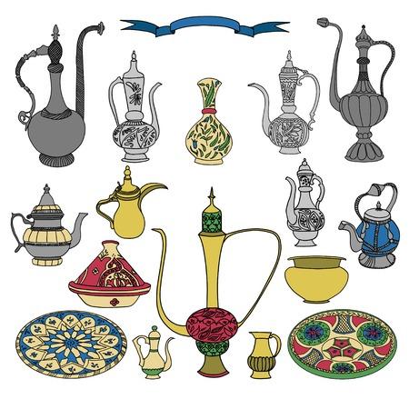 Illustration pour Colorful vector set of arabic ornamental crockery with teapots, pitchers, jug and plates.Oriental pottery muslim dishes crockery illustration on white background.Eid al Fitr.Ramadan.Eid al-Adha.Nowruz - image libre de droit