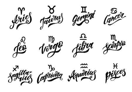 Illustration pour Horoscope set Lettering Calligraphy Vector Brush Text illustration astrology - image libre de droit