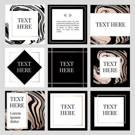 Illustration pour templates Frame square fluide art Gold Fashion Text - image libre de droit