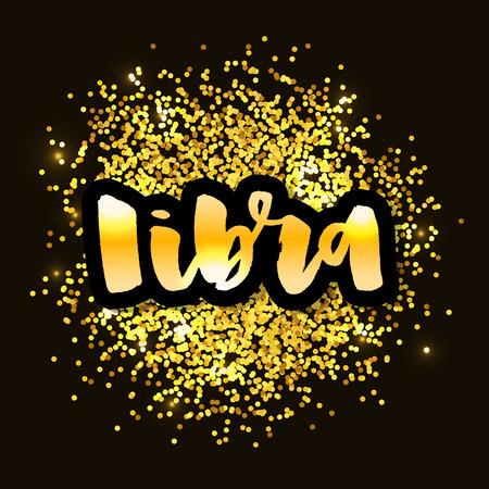 Libra lettering Calligraphy Brush Text horoscope Zodiac sign