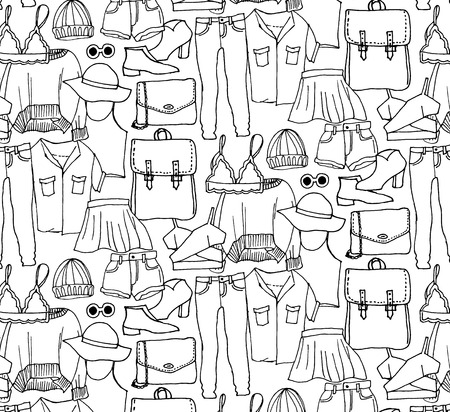 Illustration for Hand drawn winter knitted clothes set . Vector pattern - Royalty Free Image
