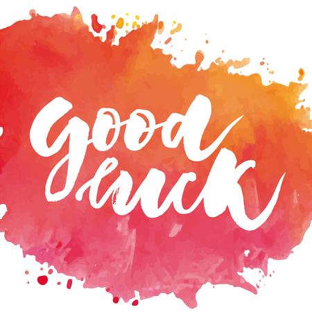 Illustration pour Lettering with phrase Good luck. Vector illustration. watercolor lettering calligraphy brush - image libre de droit