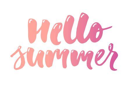 Illustration pour hello summer text lettering calligraphy phrase color white - image libre de droit