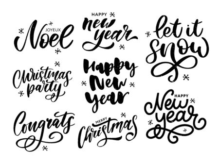 Illustration pour Christmas, new year, winter poster. Christmas greeting concept. Print design vector illustration. Vector calligraphy - image libre de droit