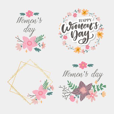 Illustration pour 8 march. Happy Woman's Day Vector congratulation card with linear floral - image libre de droit