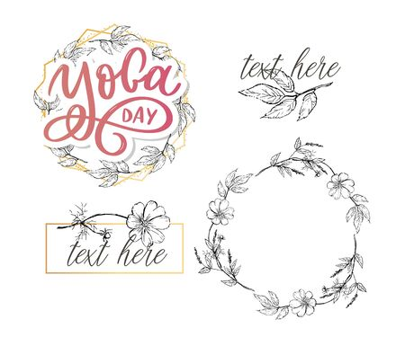 Lettering Yoga. Vector background International Yoga Day. Vector design for poster, T-shirts, bags. Yoga typography. Vector elements for labels