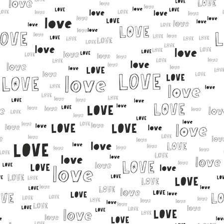 Illustration pour Vector handmade lettering LOVE - seamless pattern - image libre de droit