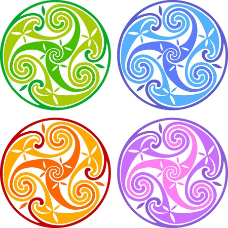 Colored celtic triskels