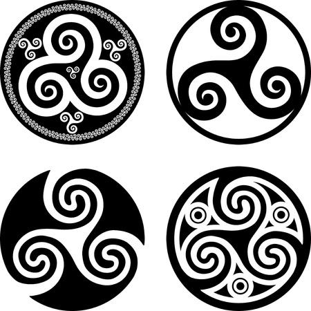 Set of black isolated celtic symbols - triskels