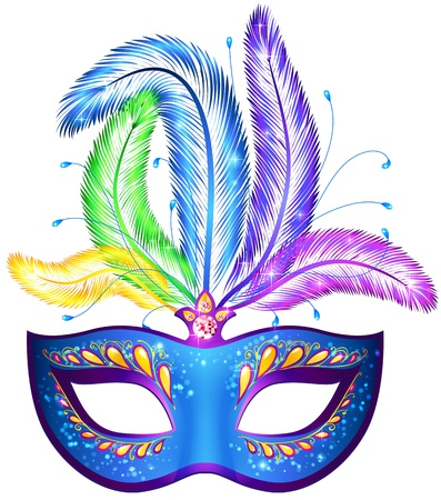 Vector blue ornate venitian carnival mask with feathers