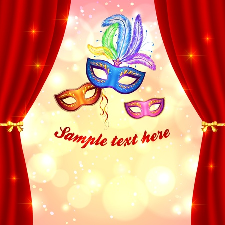 Venetian carnival poster template with masks and curtain