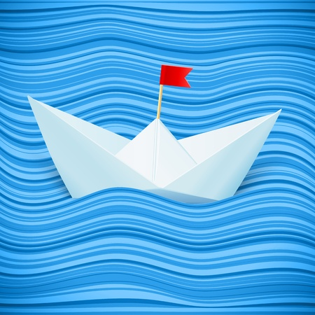 paper sailing boat in blue waves of paper sea