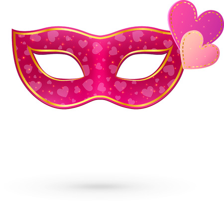 Illustration pour Pink vector carnival mask with hearts and shadow - image libre de droit