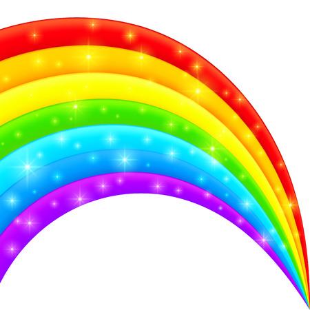 Vector plastic bright shining rainbow with magic lights
