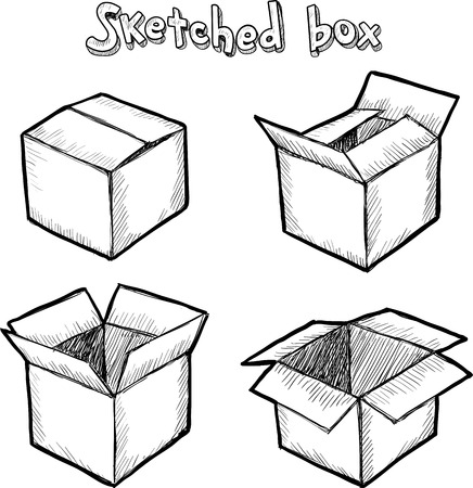Hand-drawn vector open box, set for animation