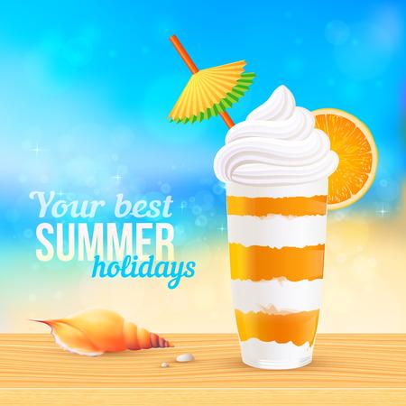 Summer creamy cocktail with orange slice and paper umbrella