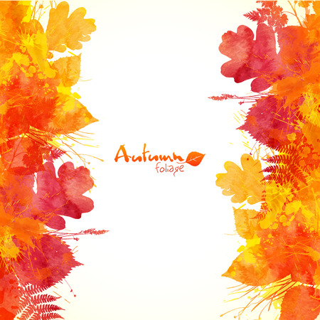 Watercolor painted autumn leaves vector backgroundのイラスト素材