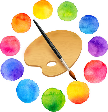Watercolor painted rainbow colors circles with brush and wooden palette