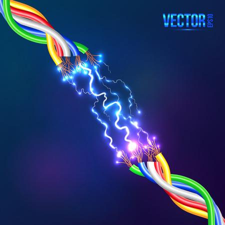 Illustration pour Electric lightning between colored cables - image libre de droit