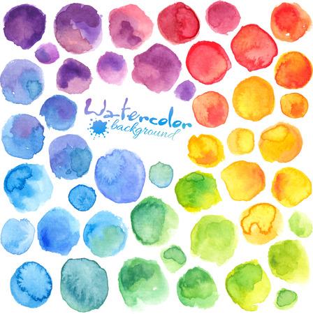 Ilustración de Bright rainbow colors watercolor painted vector stains - Imagen libre de derechos