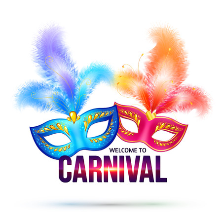 Bright carnival masks with feathers and shining sign Welcome to Carnival