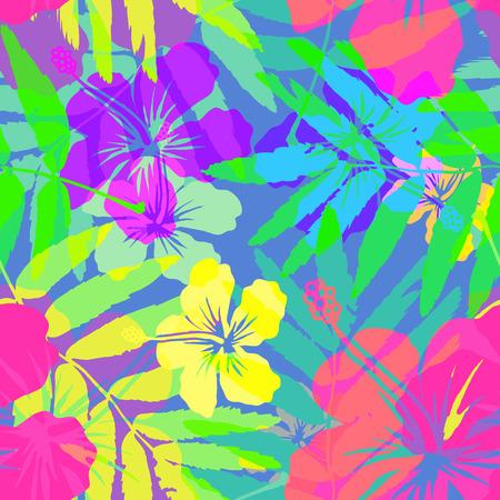 Illustration pour Vivid colors bright tropical flowers vector seamless pattern - image libre de droit