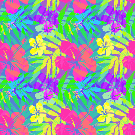 Vivid tropical flowers and leaves vector seamless pattern
