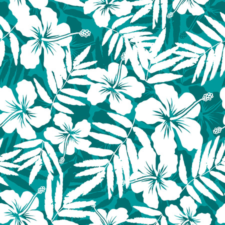 Blue and white tropical flowers silhouettes seamless patternのイラスト素材
