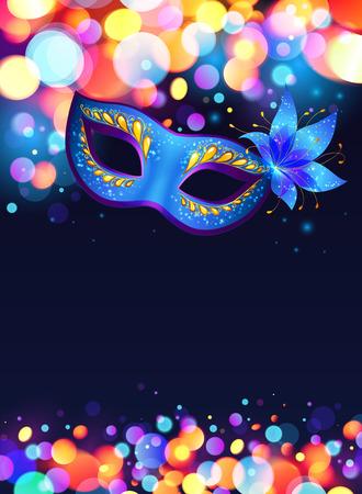 Illustration pour Blue carnival mask vector poster background - image libre de droit