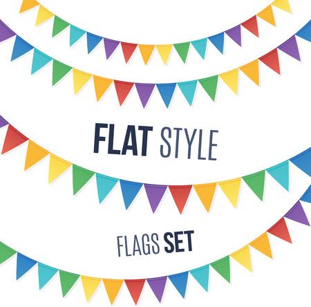 Illustration pour Rainbow colors flat style holiday flags garlands set on white background - image libre de droit
