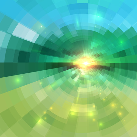Abstract green technology concentric mosaic vector background