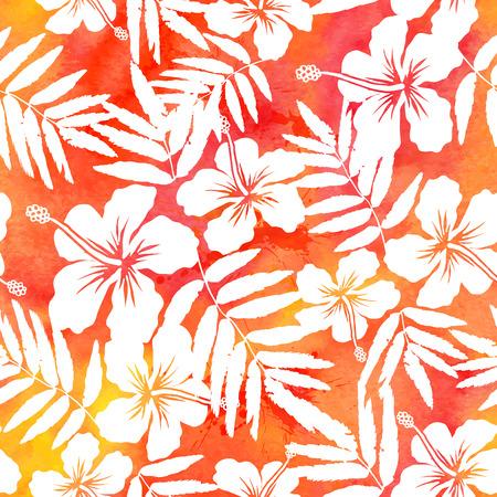 Illustration pour Red watercolor vector hibiscus summer seamless pattern - image libre de droit