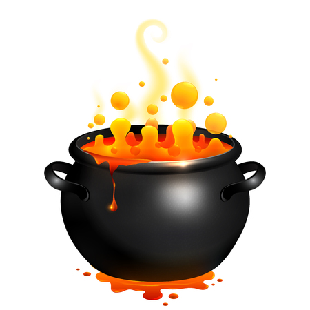 Black vector cauldron with orange witches magic potion