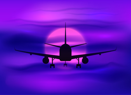 Illustration for Black vector plane silhouette in dark purple sunset sky - Royalty Free Image