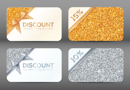 Set of golden and silver glitter white vector discount cards templates