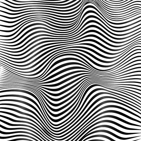 Illustration pour Abstract black and white stripes waves vector background - image libre de droit
