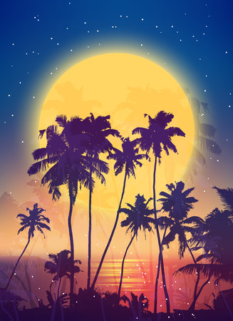 Retro style full moon rise with palm silhouettes vector poster background