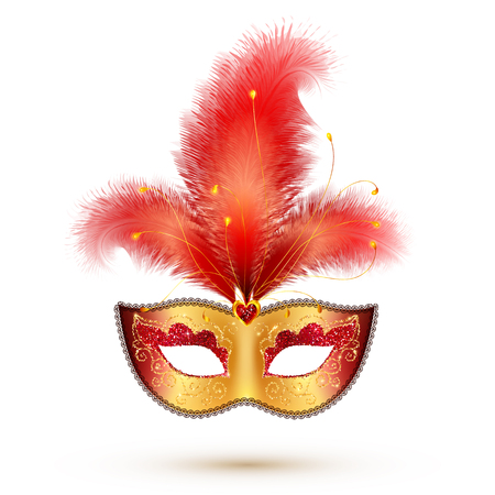 Illustration pour Vector golden carnival mask with red glitter decoration and realistic feathers - image libre de droit