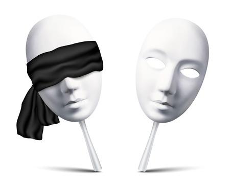Illustration for Couple of white vector blindfolded masks for mafia game - Royalty Free Image