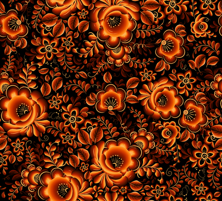 Illustration for Vector orange floral seamless pattern on black background in Russian tradition hohloma style - Royalty Free Image