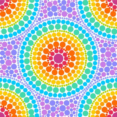 Ilustración de Rainbow colors concentric circles in dot art style, vector seamless pattern - Imagen libre de derechos