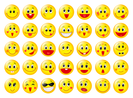 Illustration pour Yellow happy round emoticon faces set isolated on white - image libre de droit