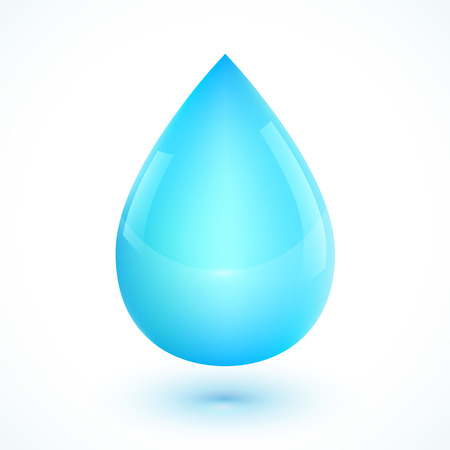Blue realistic vector water drop isolated on white backgroundのイラスト素材