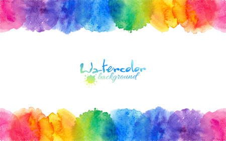 Illustration for Bright rainbow colors watercolor circles vector frame - Royalty Free Image