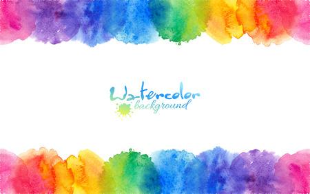 Ilustración de Bright rainbow colors watercolor circles vector frame - Imagen libre de derechos